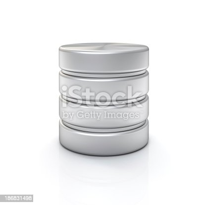 3d database cylinder on white background