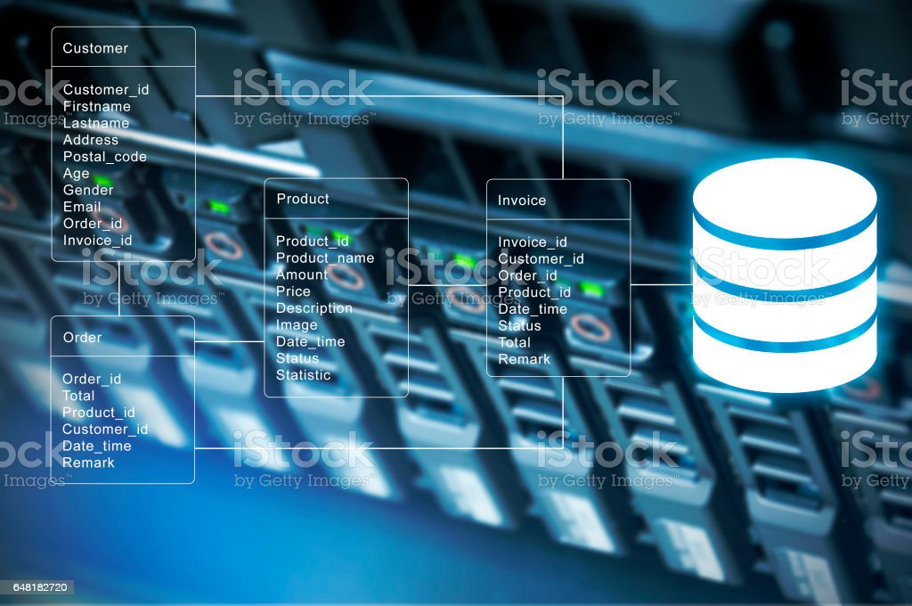Database table with server storage and network in datacenter background stock photo