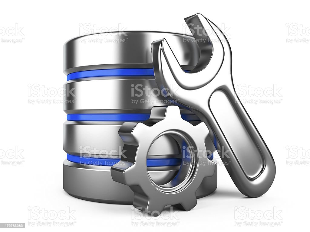 database with gear and spanner on white background royalty-free stock photo