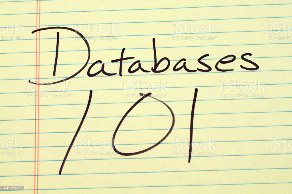 Databases 101 On A Yellow Legal Pad stock photo