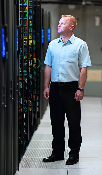 Datacenter manager stock photo