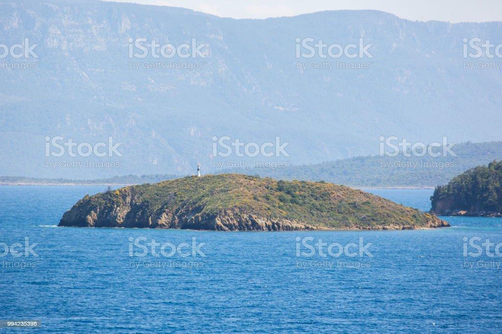 Datça deniz ve doğa manzaralı stok fotoğrafı
