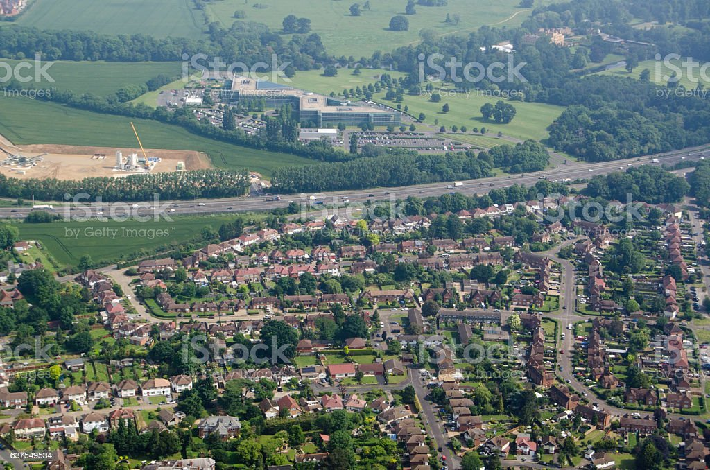 Datchet village and Ditton Park, aerial view stock photo
