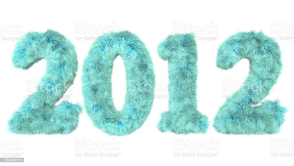 date 2012 written with wild turquoise blue hair royalty-free stock photo
