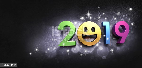 istock Date 2019 joyful symbol for Greeting card 1062716644