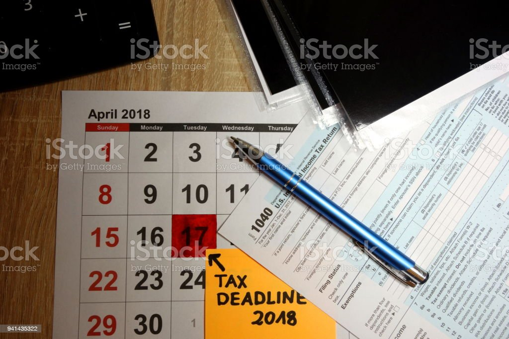 Date April 17 2018 marked as deadline for forms filing stock photo