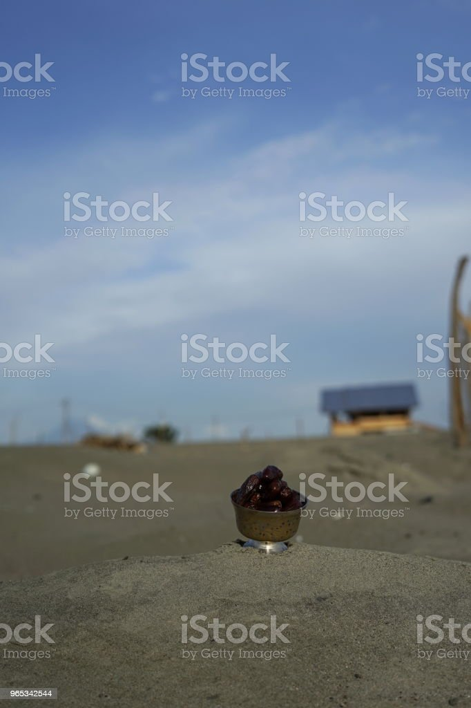 Date Fruit in Vintage Silver Plate royalty-free stock photo