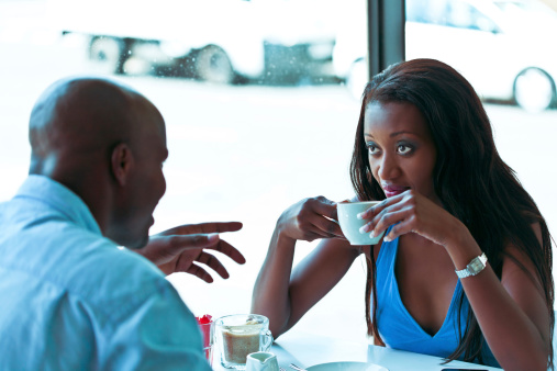 Date In Cafe Stock Photo - Download Image Now