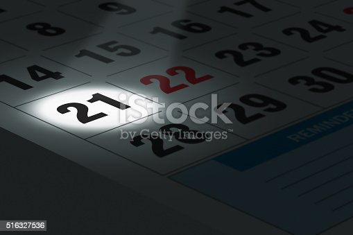 Illustration of calendar with a spot lit date in focus.