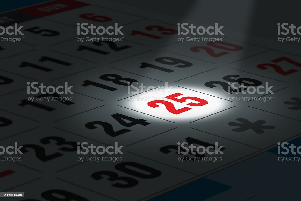 Date in focus stock photo