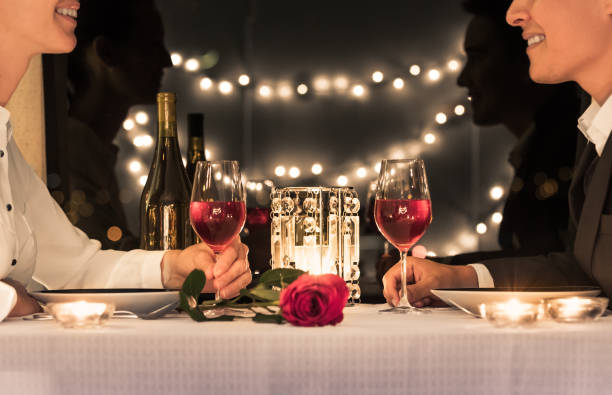 Date night Romantic candlelight dinner. evening wear stock pictures, royalty-free photos & images