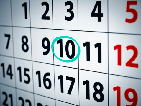 Date On The 10th Stock Photo - Download Image Now