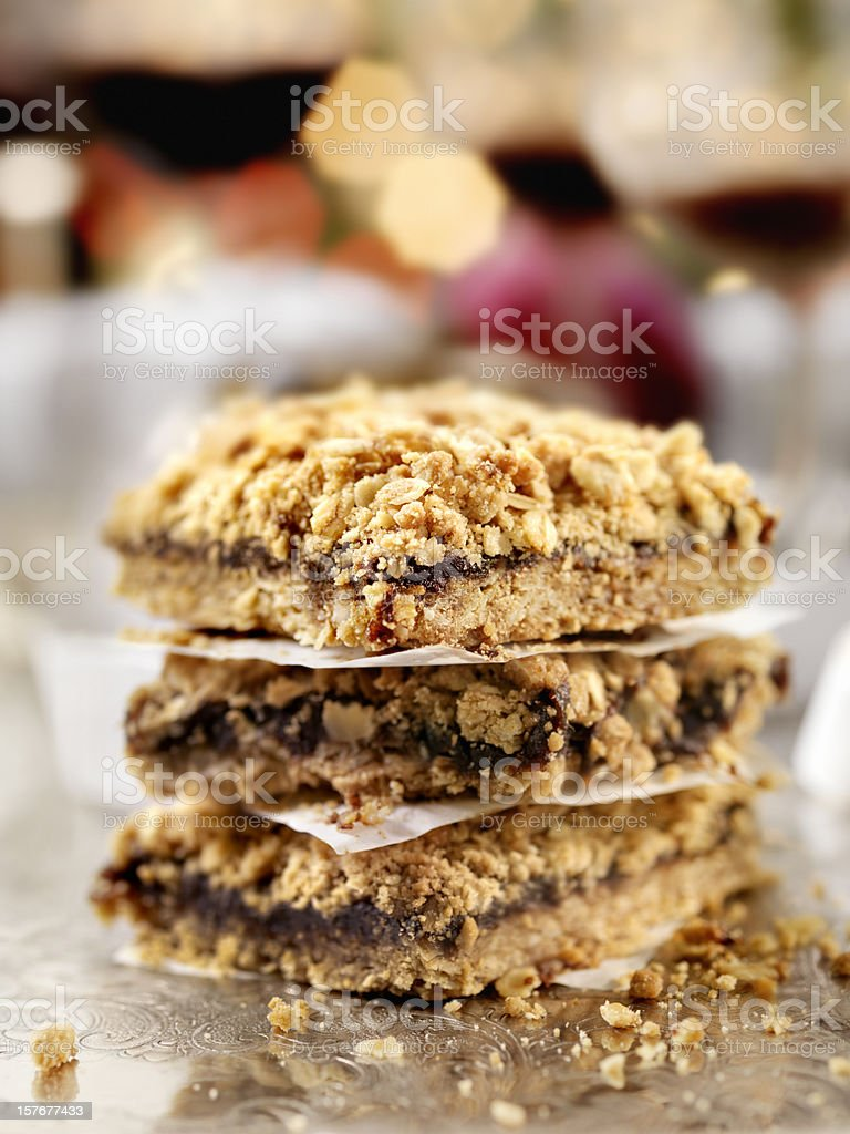 Date Squares at a Christmas Party royalty-free stock photo