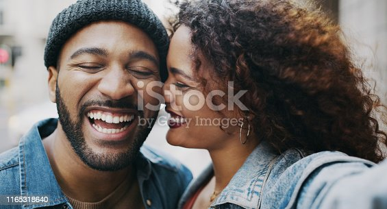 Shot of a happy young couple taking selfies in the city