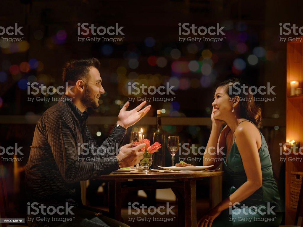 Date with pretty lady stock photo
