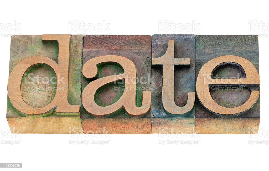 date word in letterpress type royalty-free stock photo