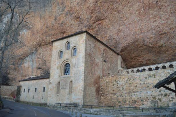 Dated In The XI Century Side Facade Of The Royal Monastery of San Juan De La Peña In Botaya. – Foto