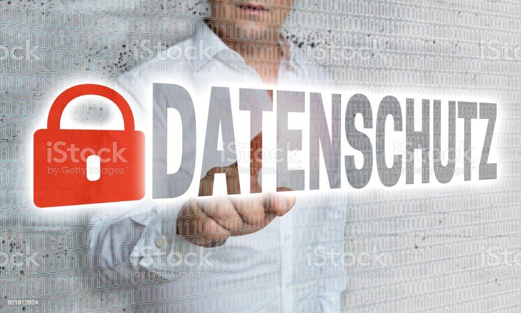 Datenschutz (im deutschen Datenschutzrichtlinien) mit Matrix und Geschäftsmann Konzept – Foto