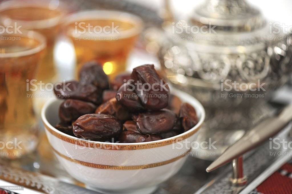 Dates and tea for Ramadan stock photo