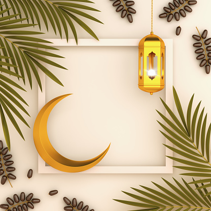 istock Dates fruit and leaves, gold lantern, cresent on white cream background. Design creative concept of islamic celebration day ramadan kareem, iftar, or eid al fitr adha, space text, 3D illustration. 1221757210