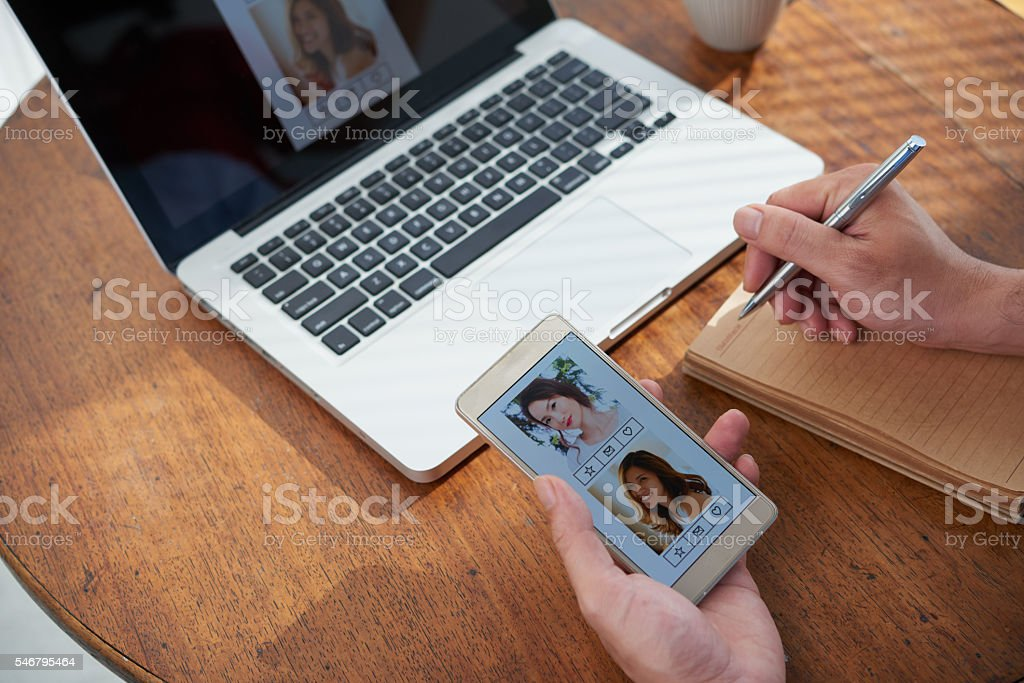 Dating application stock photo