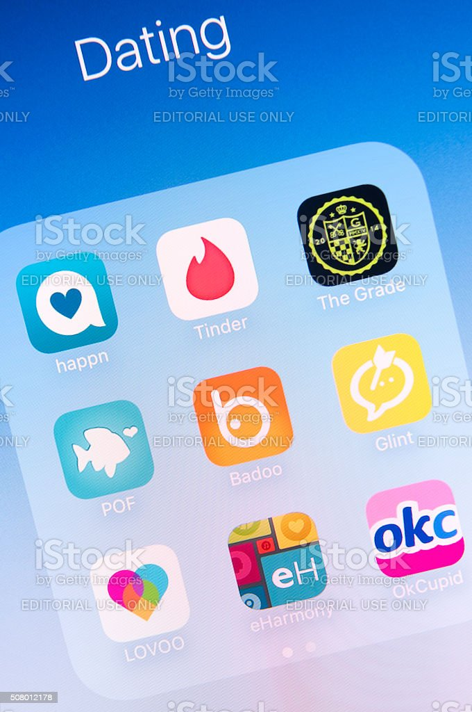 Dating Apps on Apple iPhone 6s Plus Screen stock photo