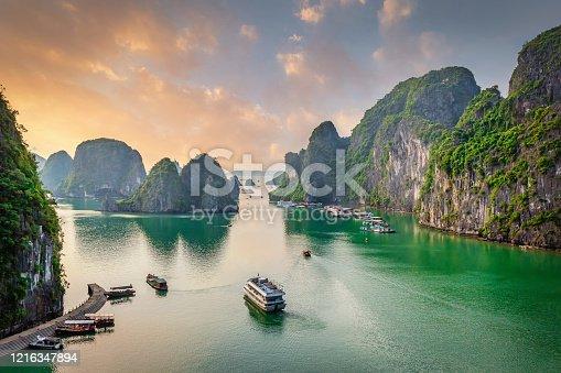 istock Dau Go Island Halong Bay Sunset Cruise Vietnam 1216347894