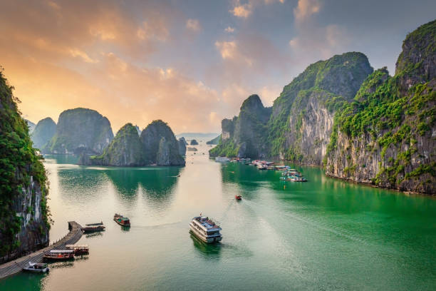 Dau Go Island Halong Bay Sunset Cruise Vietnam stock photo