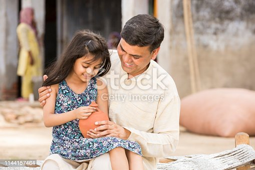 Indian, Child, Piggy Bank, Coin, Family