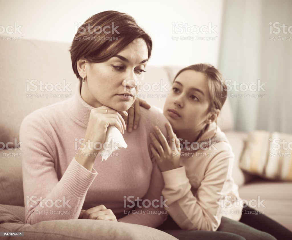 Daughter asks for forgiveness stock photo