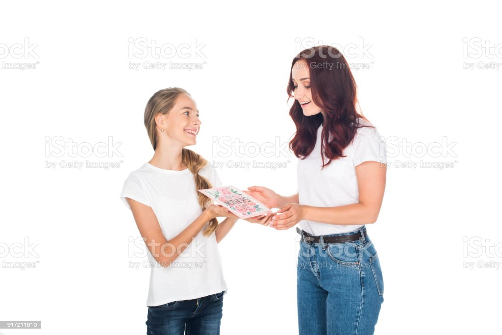 daughter gifting mothers day greeting card stock photo