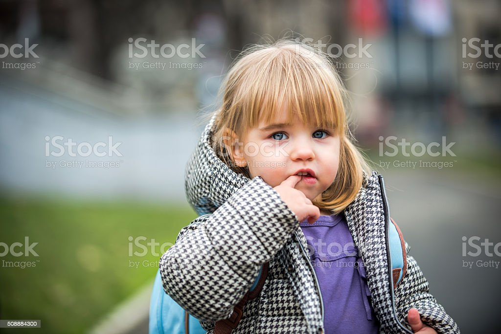 Daughter goes to school stock photo
