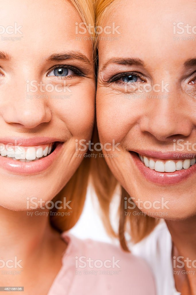 Daughter with mother. stock photo