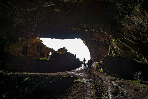 Davelis Cave in Penteli, a mountain to the north of Athens, Greece stock photo