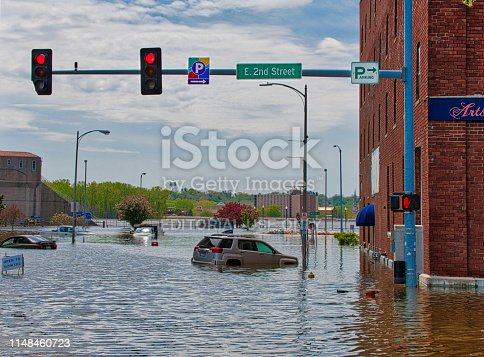 May 5th, 2019, downtown Davenport, Iowa flood. After the levee broke.