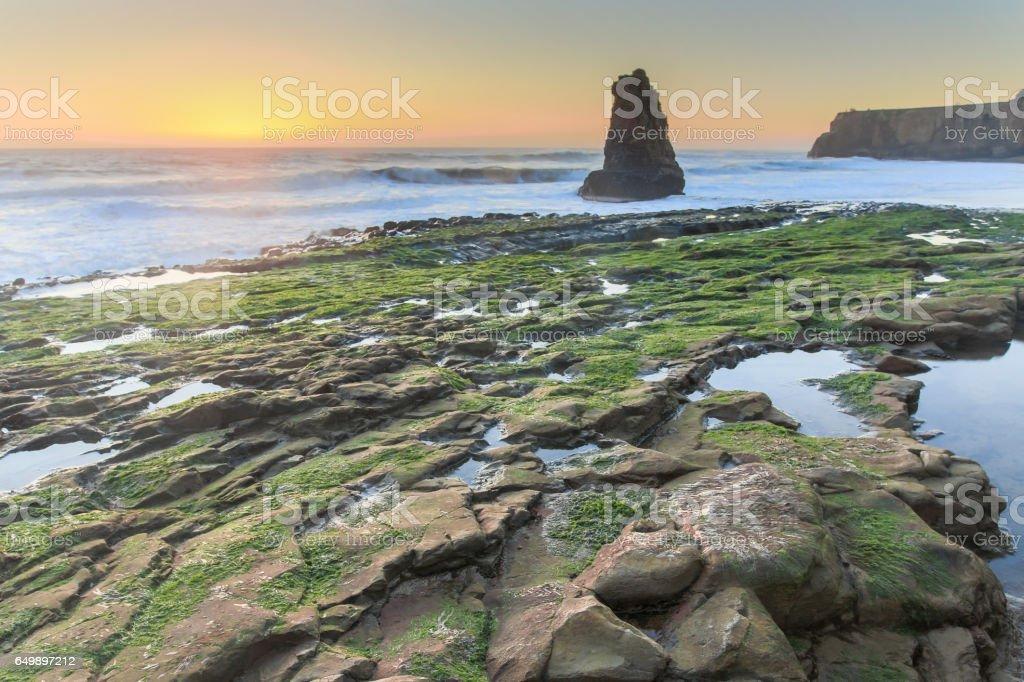 Davenport Rugged Coastline Sunset stock photo