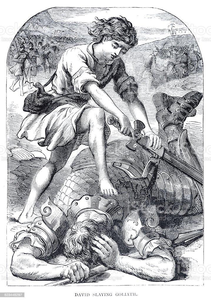 David and Goliath engraving stock photo
