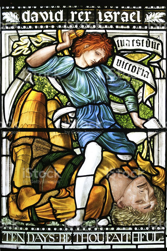 David And Goliath, Stained Glass, Christchurch Cathedral royalty-free stock photo