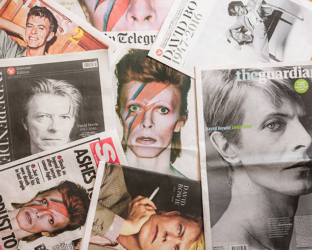 David Bowie tributes on British newspaper front pages. Edinburgh, UK - January 12, 2016: The front pages of several British newspapers, published following the death of David Bowie on 10th January 2016. front page stock pictures, royalty-free photos & images