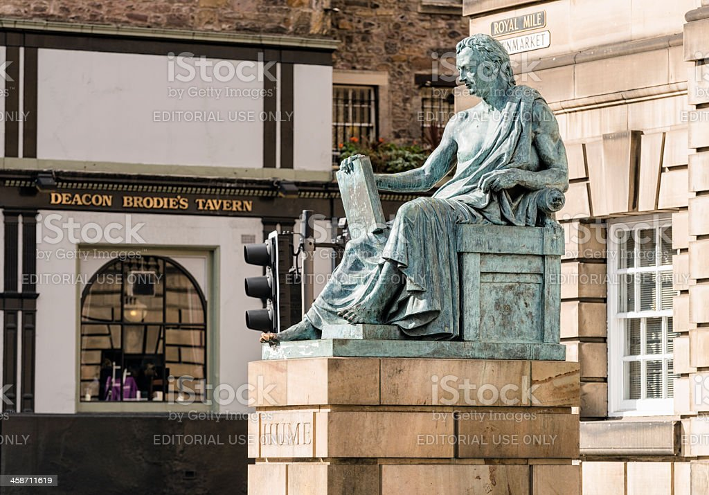 David Hume Statue in Edinburgh royalty-free stock photo
