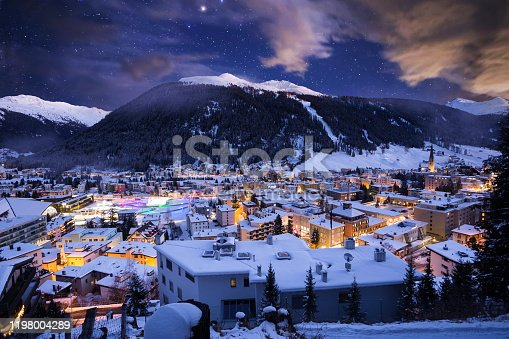 Davos city winter blue hour night scene. Davos, Switzerland