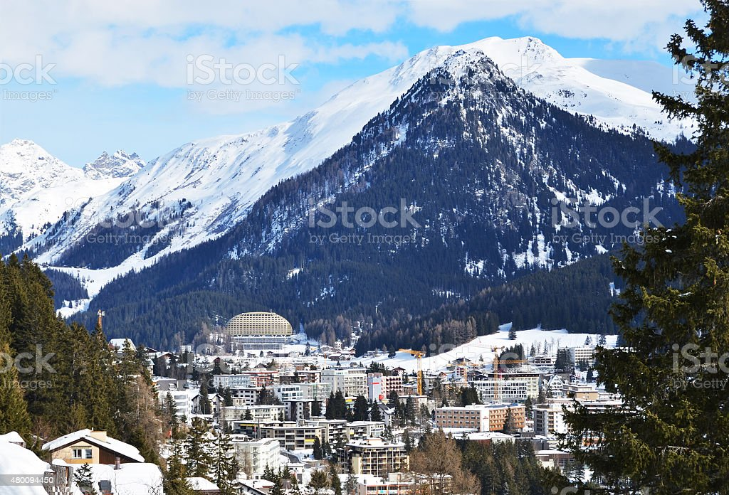 Davos, famous Swiss skiing resort stock photo