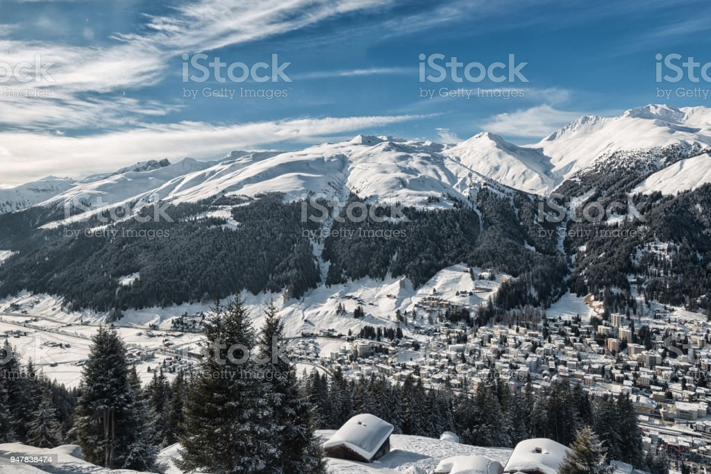 Davos in winter stock photo