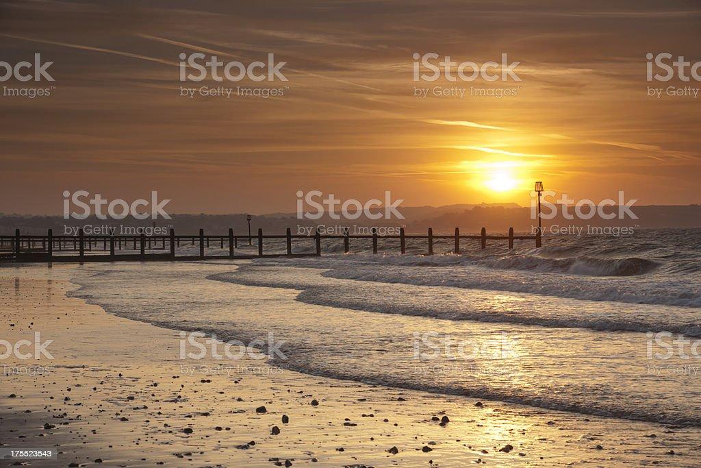 Dawlish Warren beach in south Devon at sunrise royalty-free stock photo