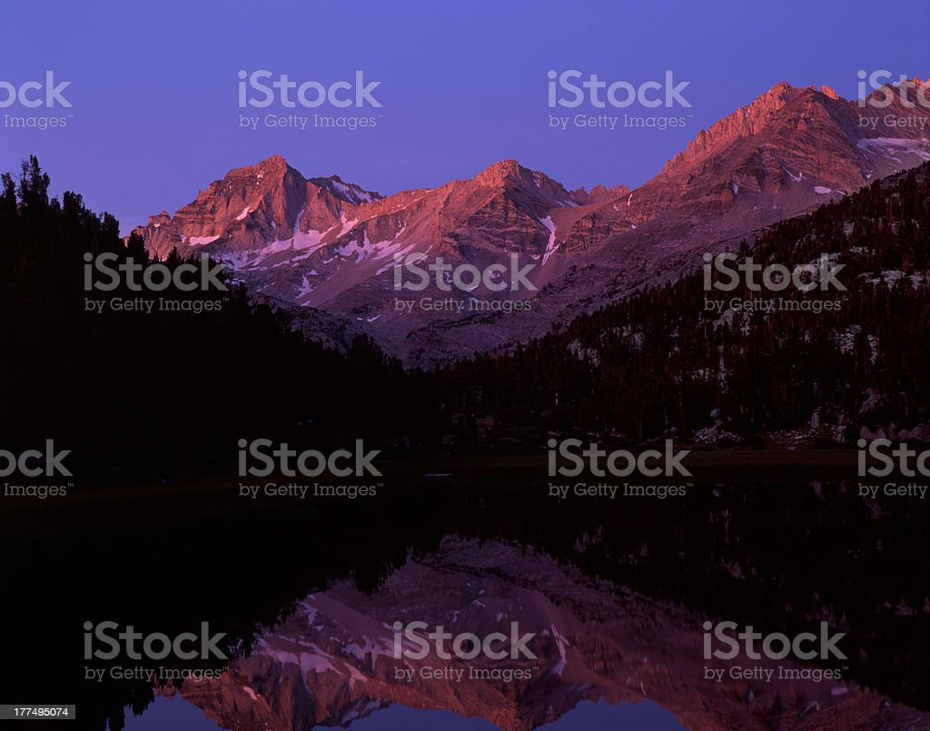 Dawn Alpenglow on Bear Creek Spire royalty-free stock photo