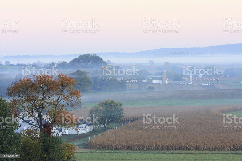 Dawn at Amish land stock photo