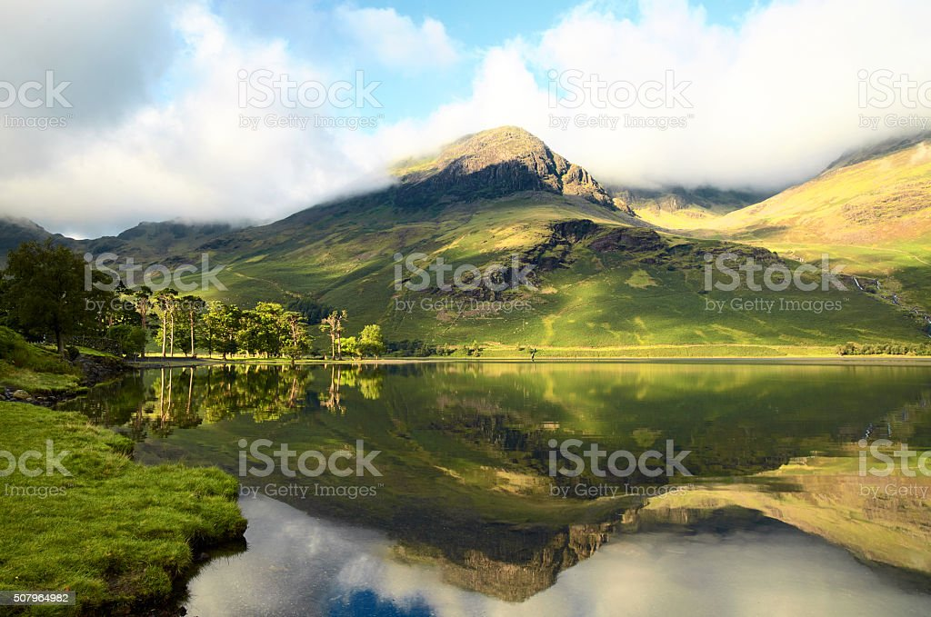 Dawn At Buttermere In England's Lake District stock photo