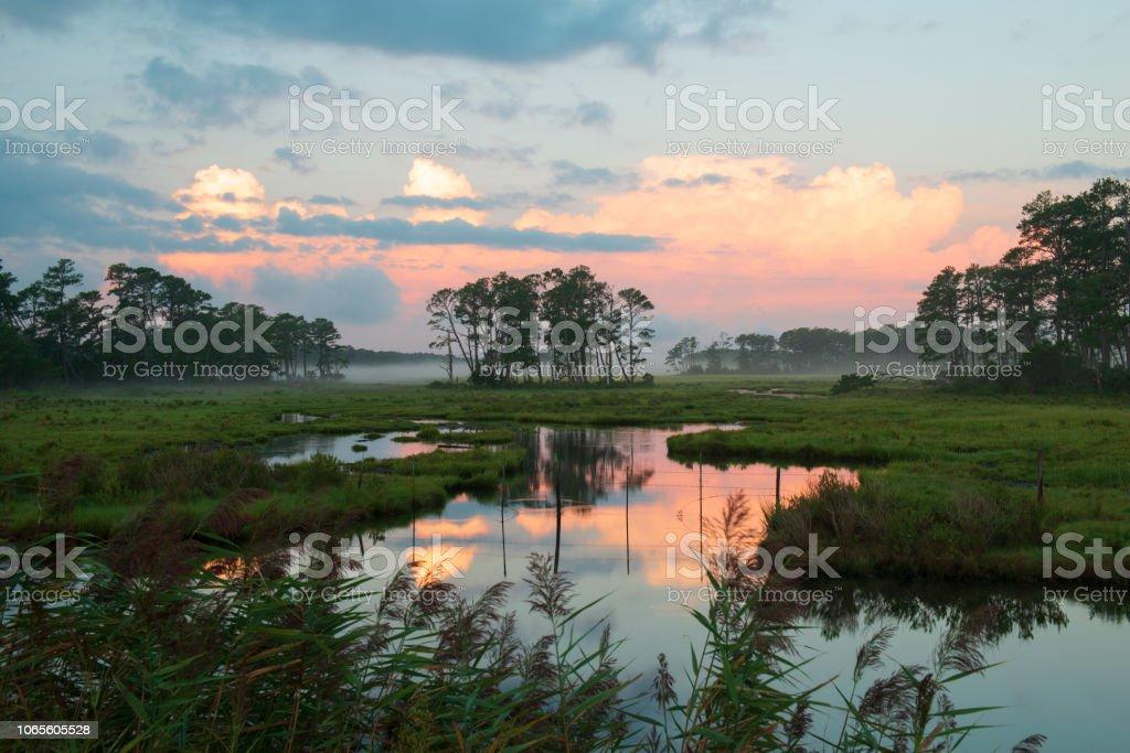 Dawn at Chincoteague Island stock photo