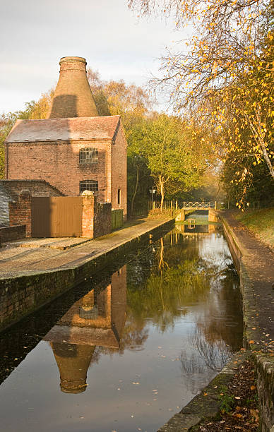 Dawn at Coalport china works stock photo