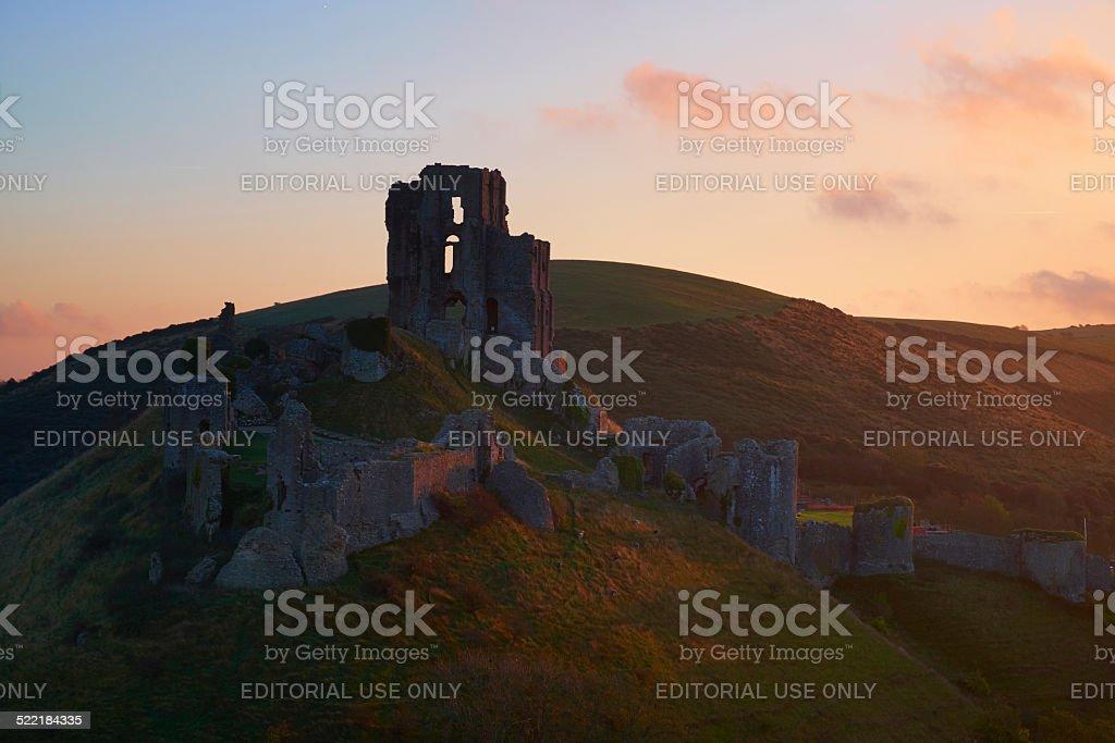 Dawn At Corfe Castle, Dorset stock photo